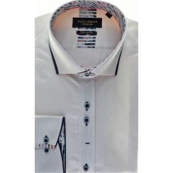 White Cotton Slim Fit Shirt with Trim Detail