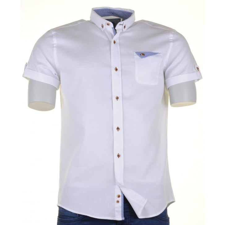 GUIDE White or Pink Short Sleeved Slim Fit Cotton Shirt
