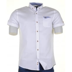 White or Pink Short Sleeved Slim Fit Cotton Shirt
