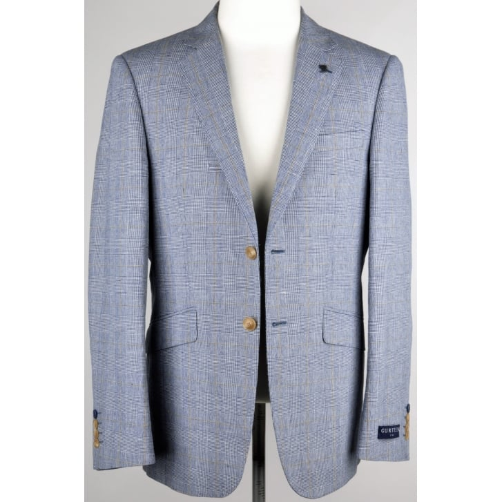 GURTEEN Buggy Lined Linen and Cotton Check Jacket