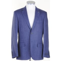 Half Lined Linen Jacket in Blue or Stone