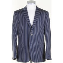 Navy and Fawn Light Weight Striped Blazer