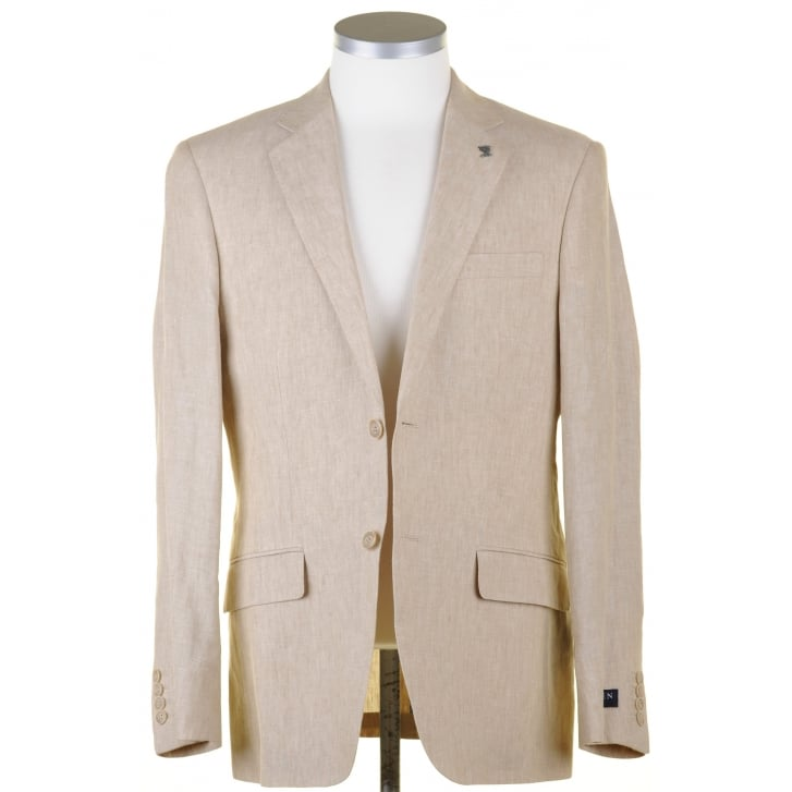 GURTEEN Single Breasted Buggy Lined Classic Fit Pure Linen Jacket