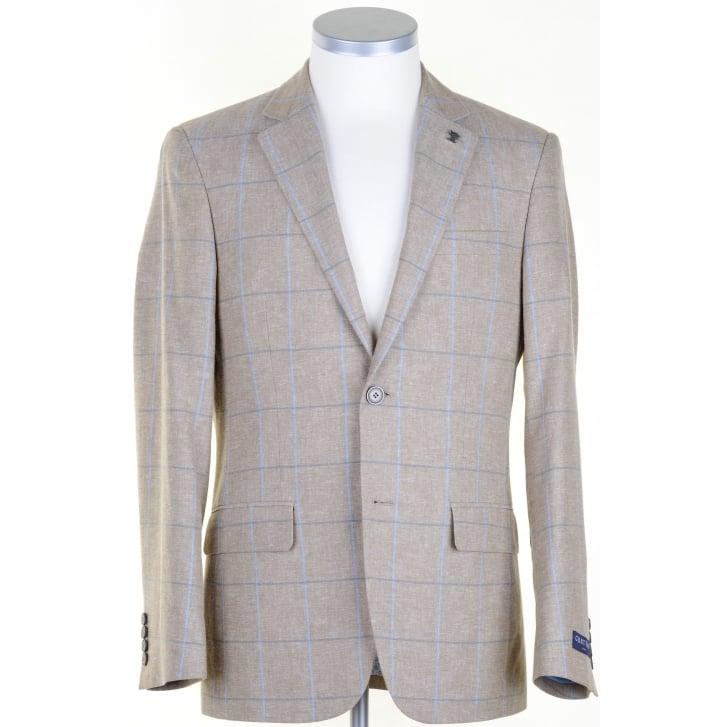 GURTEEN Stone Linen mix jacket with Blue Overcheck