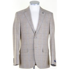 Stone Linen mix jacket with Blue Overcheck