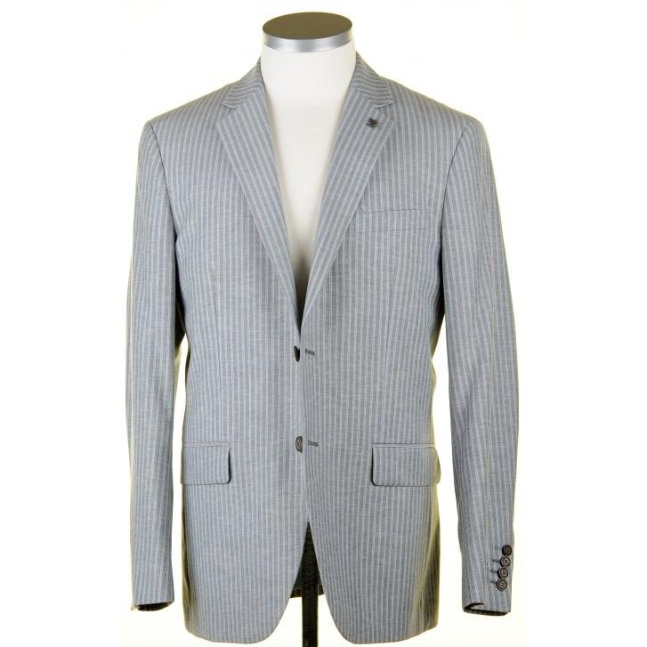 GURTEEN Summer Weight Grey Striped Blazer in a Wool, Poly Linen Mix
