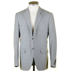 Summer Weight Grey Striped Blazer in a Wool, Poly Linen Mix