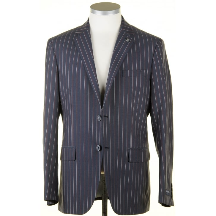 GURTEEN Summer Weight Striped Blazer in a Wool Poly Mix