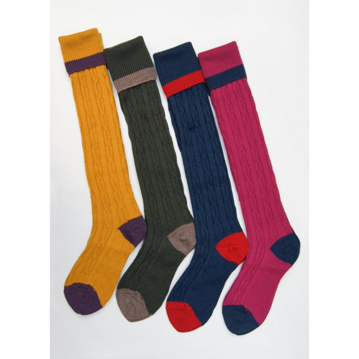 HJ HALL Merino Wool Mix Cable Turn Over Top Sock for Comfort and Warmth