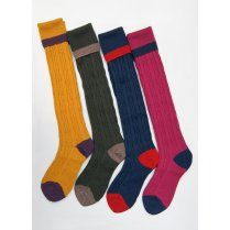 Merino Wool Mix Cable Turn Over Top Sock for Comfort and Warmth
