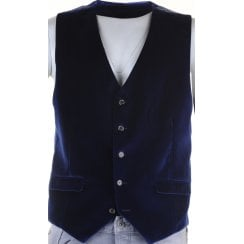Cotton Velvet Navy and Wine Waistcoat