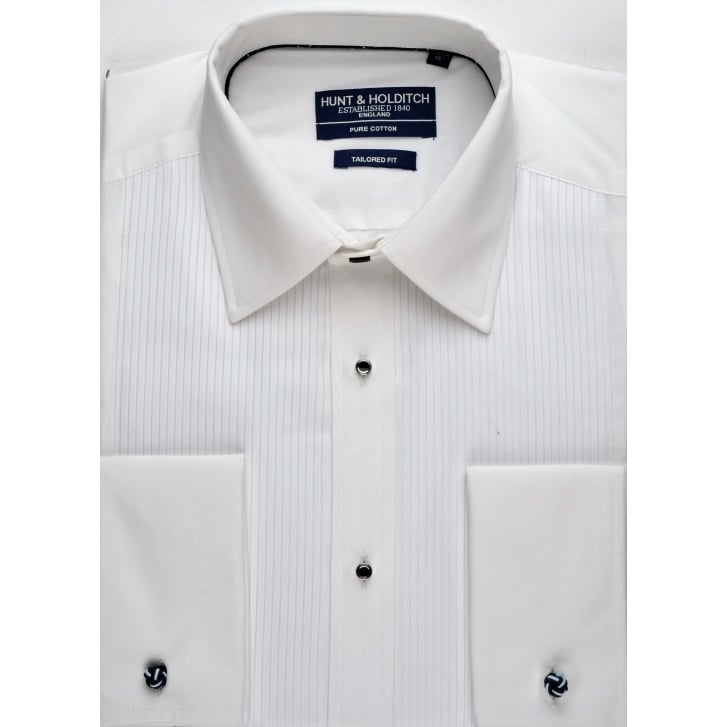 HUNT & HOLDITCH Cotton Mock Pleat Tailored Dress Shirt in Wing or Conventional Collar
