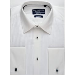 Cotton Mock Pleat Tailored Dress Shirt in Wing or Conventional Collar