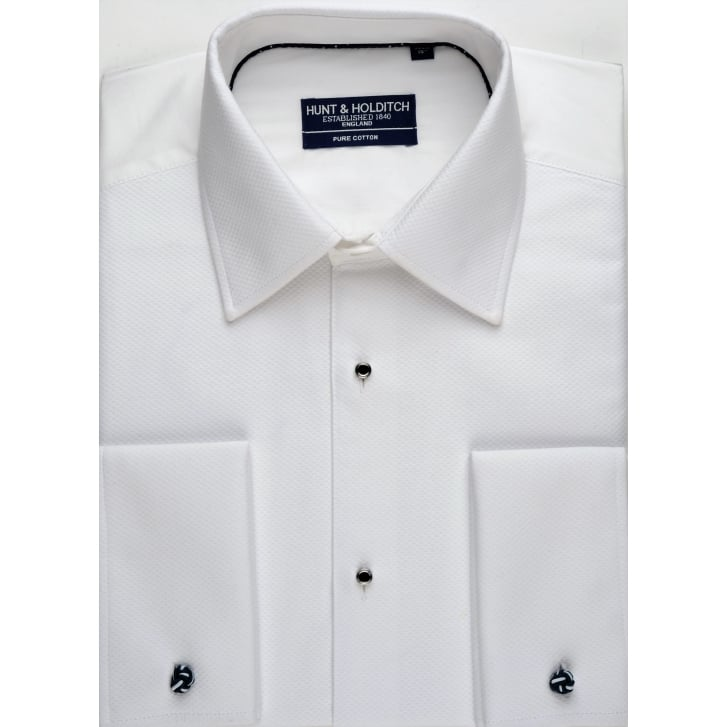 HUNT & HOLDITCH White Cotton Marcella Dress Shirt available in Classic or Wing Collar