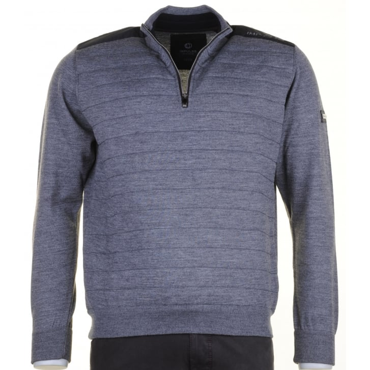 IMPULSO Italian 1/4 Zip Grey Sweater