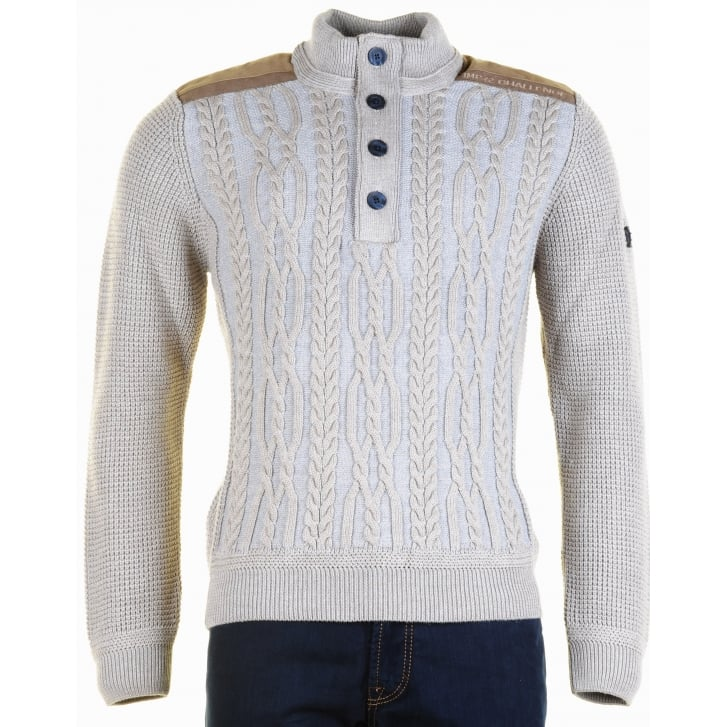 IMPULSO Italian Cable Fronted Knitwear in Fawn