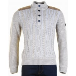 Italian Cable Fronted Knitwear in Fawn