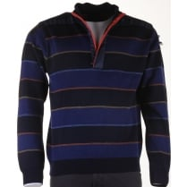 Italian Water Repellant Striped 1/4 Zip Sweater