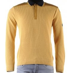 Italian Water Repellent Mustard1/4 Zip Sweater