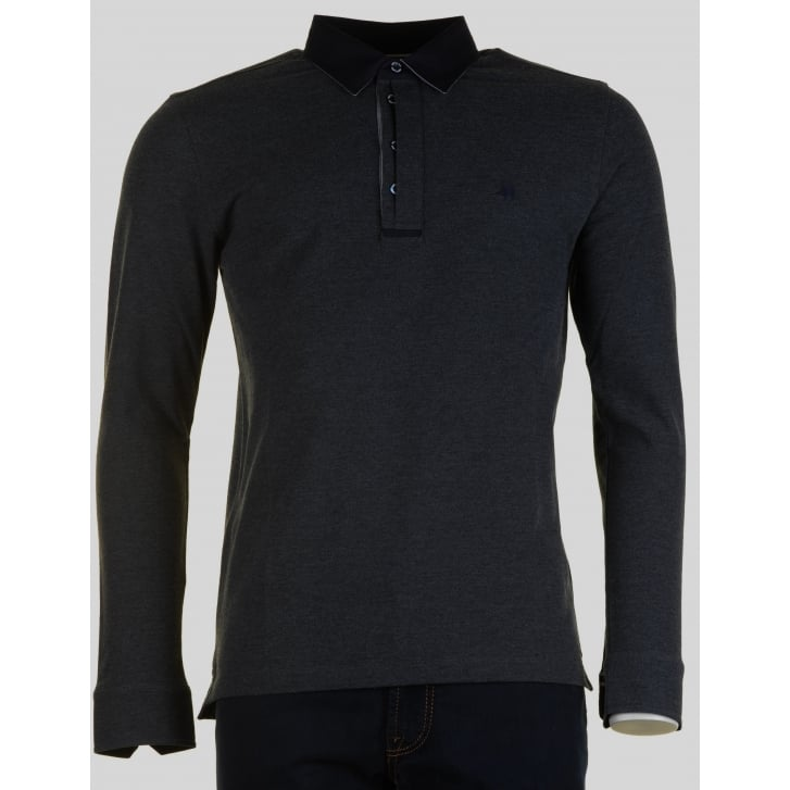IMPULSO Long Sleeved Charcoal Polo Shirt