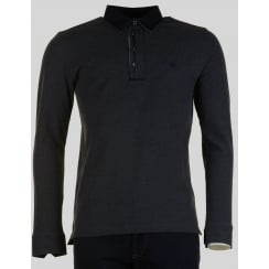 Long Sleeved Charcoal Polo Shirt