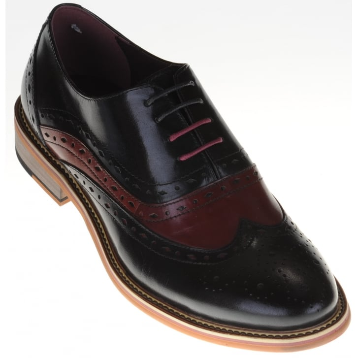 JUSTIN REECE Black Brogue with Wine Suede Inserts