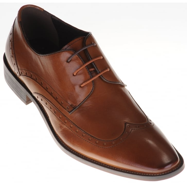 JUSTIN REECE Brogue Style Leather Tan Shoe