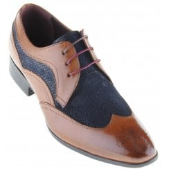 Fashioned Brogue in Tan with Navy Inserts