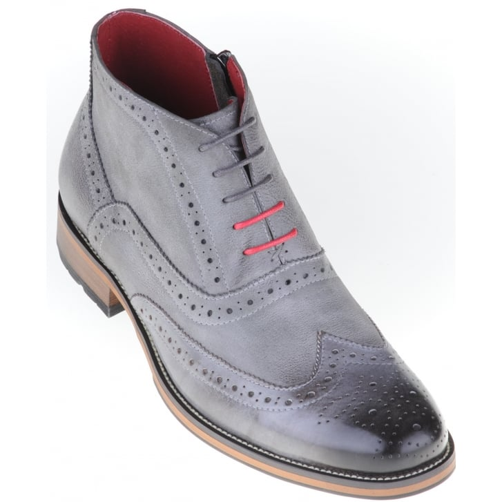 JUSTIN REECE Grey Laced Brogue Boot with Side Zip
