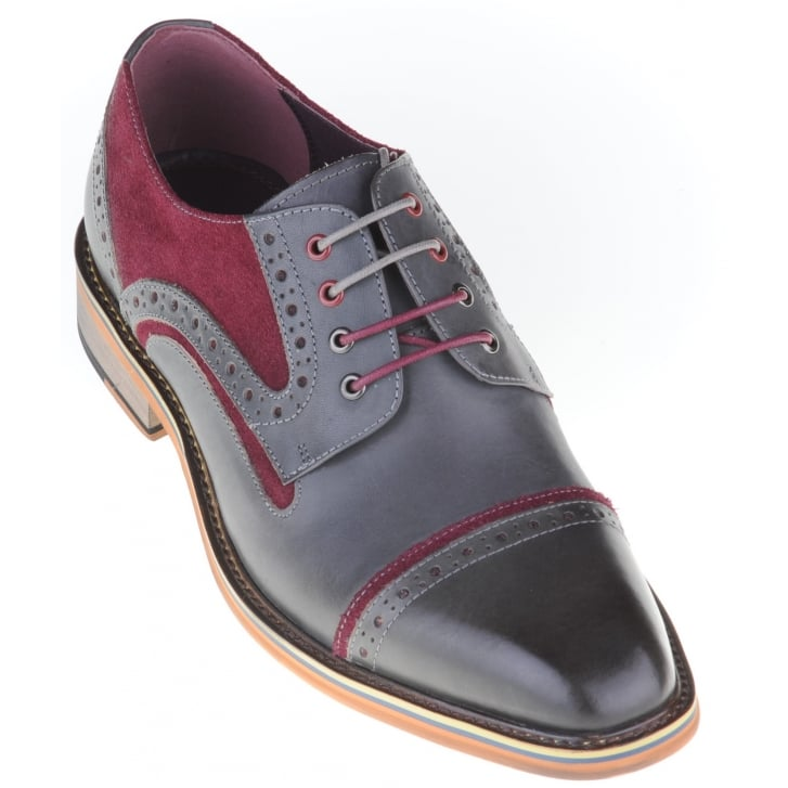 JUSTIN REECE Grey Shoe with Wine Suede Trim and Choice of Two Laces