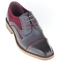 Grey Shoe with Wine Suede Trim and Choice of Two Laces