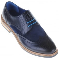 Leather And Suede Brogue in Brown or Navy