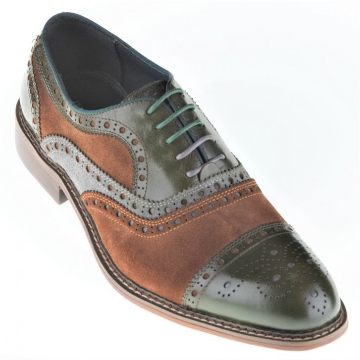 JUSTIN REECE Leather and Suede Green and Brown Brogue