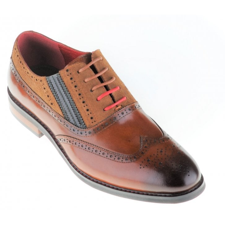 JUSTIN REECE Leather and Suede Laced Fashion Brogue