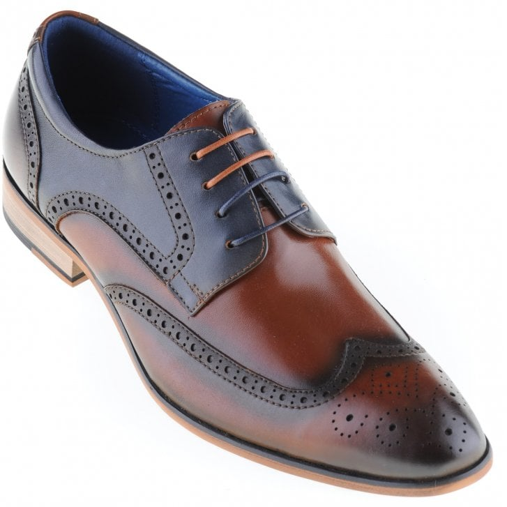 JUSTIN REECE Tan and Navy Brogue Shoe with Choice of Two Laces