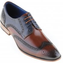 Tan and Navy Brogue Shoe with Choice of Two Laces