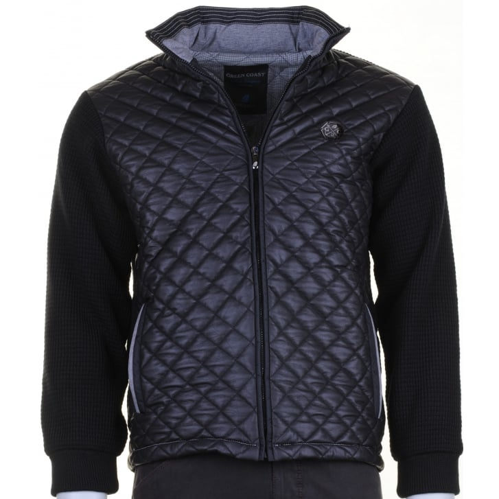 GREEN COAST Knitted Jacket with a Quilted Front in Black