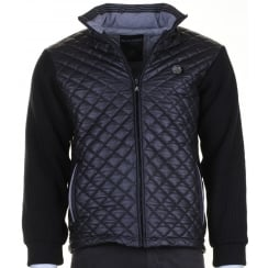 Knitted Jacket with a Quilted Front in Black