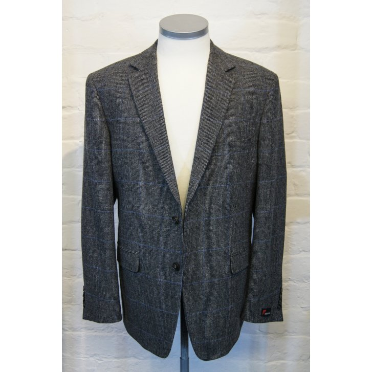KONEN Pure Wool Grey Tweed Traditional Single Breasted Jacket Cloth Woven by Johnstons of Elgin