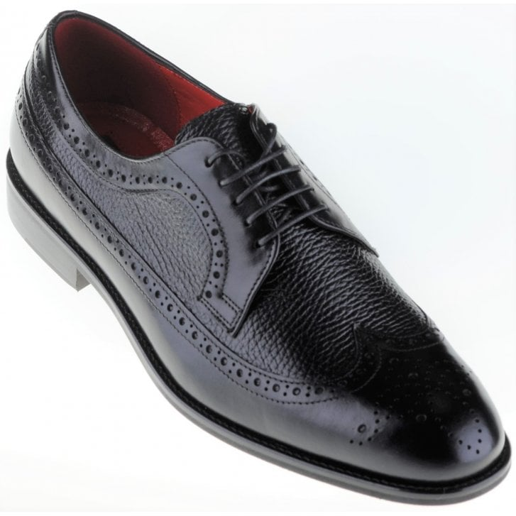LACUZZO Black Laced Leather Brogue Shoe with Textured Inlays