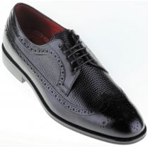 Black Laced Leather Brogue Shoe with Textured Inlays