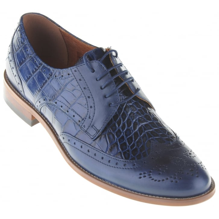 LACUZZO Blue Brogues with Snake Effect Inserts