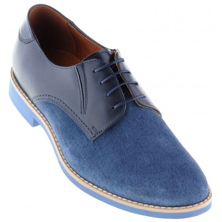 LACUZZO Blue Laced Leather Casual Shoe with Contrasting Leather