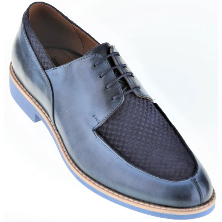 LACUZZO Blue Laced Leather Casual Shoe with Contrasting Weave Effect