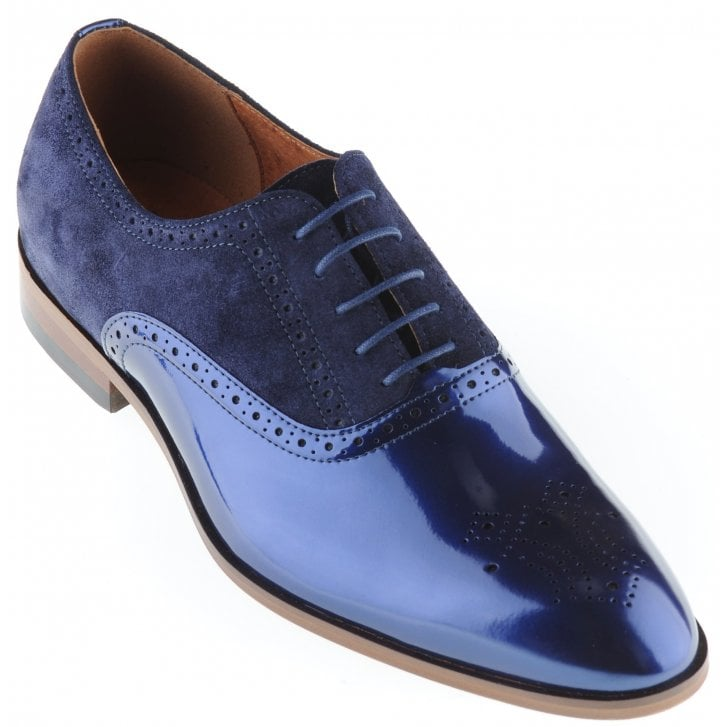 LACUZZO Blue patent leather and suede Brogue Style Shoe
