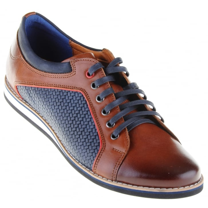 LACUZZO Brown Casual Laced Shoe with Navy Trim and Inserts