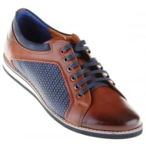 Brown Casual Laced Shoe with Navy Trim and Inserts