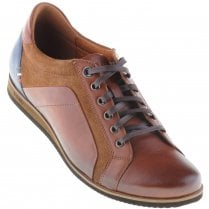 Brown Casual Laced Shoe with Navy Trim and Suede Inserts