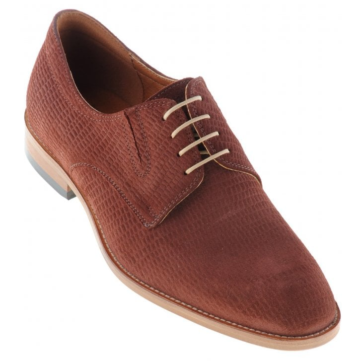 LACUZZO Brown Laced Skin Effect Shoe with Stretch Inserts