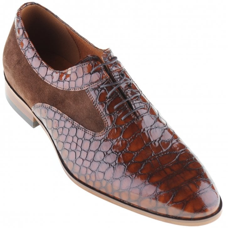 LACUZZO Brown Laced Snake Skin Effect Shoe with Suede Inlays